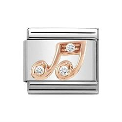Rose Gold CZ Music Note