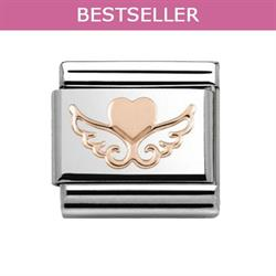 Rose Gold Angel Wing Heart Charm