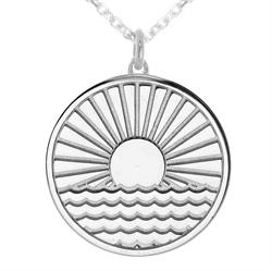 Sun Rising Over Water myMantra Necklace in Sterling Silver
