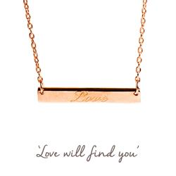 Love Mantra Bar Necklace in Rose Gold
