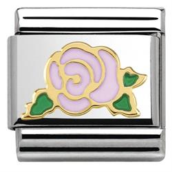 Gold Pink Rose Charm