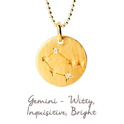 Gemini Star Map in Gold