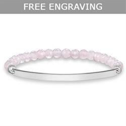 Thin Love Bridge Rose Quartz Bracelet Large