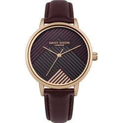 Daisy Dixon Gold Burgundy Leather Jade Stripe Watch