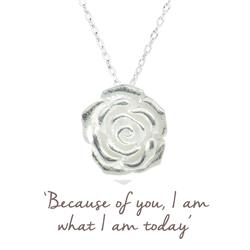 Rose Mantra Necklace in Silver