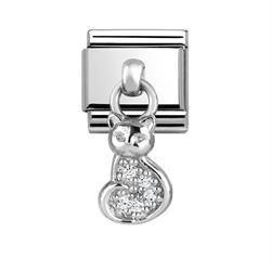 Hanging Silver CZ Cat