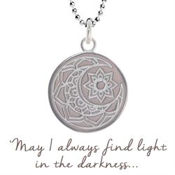 Mantra Sun and Moon Necklace in Silver on card