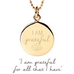 I am Grateful Disc Necklace in Gold
