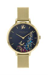 Wisteria Watch, Gold Mesh and Navy