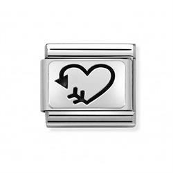 Silver Arrow Heart Charm