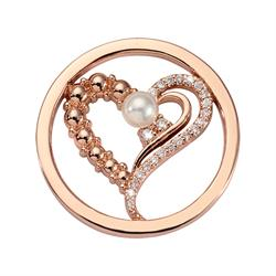 Rose Gold Pearl Heart Small Coin 23mm