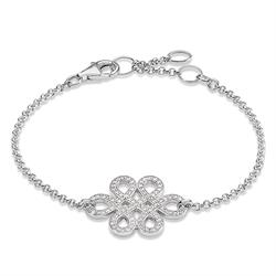 Silver CZ Love Knot Adjustable Bracelet