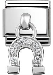 Silver Hanging Horseshoe Charm with CZ Embellishment