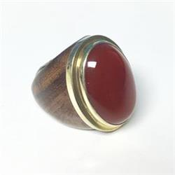 Oval Ring with Carnelian Stone Size O