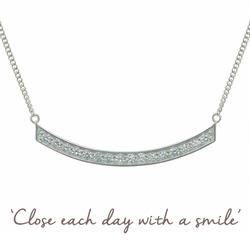 Smile CZ Mantra Necklace in Silver