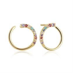 Gold Portofino Loop Earrings with Multicoloured CZ