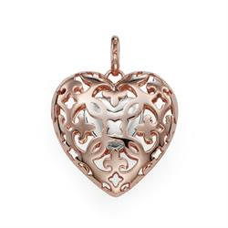 Rose Gold Locket with Small Silver Heart