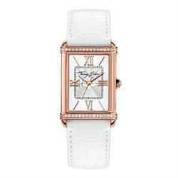 Ladies White Guilloche Leather Watch