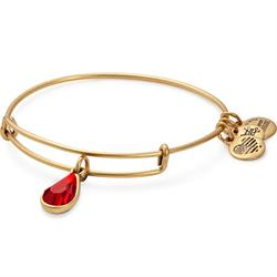 July Ruby Birthstone bangle in Rafaelian Gold Finish