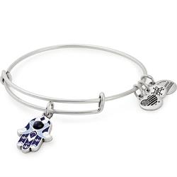 Alex and Ani Blue Color Infusion Hamsa Bangle in Rafaelian Silver