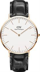Daniel Wellington Reading Black Croc Leather Rose Gold Gents Watch