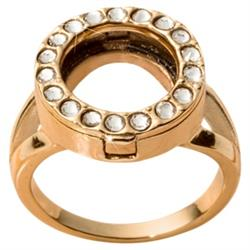Gold and Crystal Coin Ring Size 8