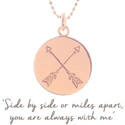 Friendship Crossed Arrow Disc Necklace in Rose Gold