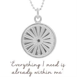 Sun Rays Disc Necklace in Sterling Silver