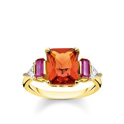 Gold Colourful Stone Ring 54