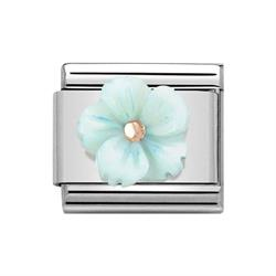 Classic Rose Gold Symbols Turquoise Mother of Pearl Flower Charm