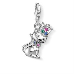 Multi CZ Cat With Crown Charm