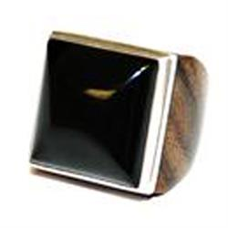 Square Black Onyx Ring, UK L