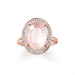 Thomas Sabo Rose Gold and Rose Quartz Oval Ring SALE