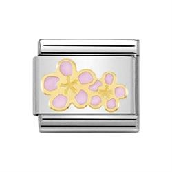 Classic Gold Nature Peach Blossoms Charm