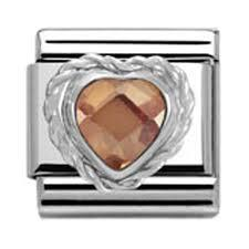 Buy Nomination Champagne Faceted Heart Charm
