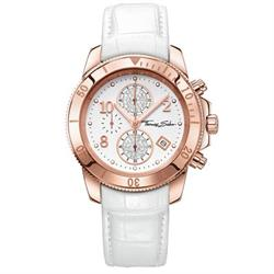 Ladies White Leather Rose Gold Chronograph