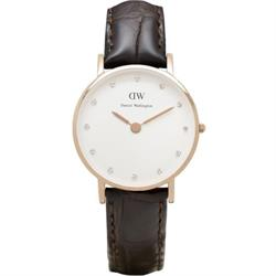 Daniel Wellington Classy York Brown Leather Watch in Rose Gold