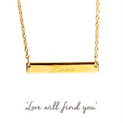 Love Mantra Bar Necklace in Gold