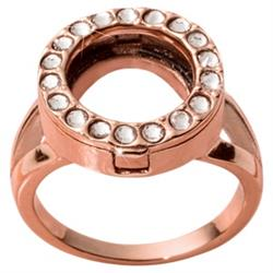 Rose Gold and Crystal Coin Ring Size 8
