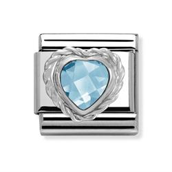 Blue Faceted Heart Charm