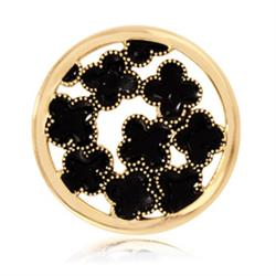 Gold Black Flowers Coin 33mm