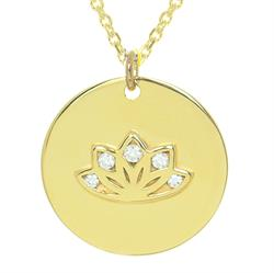 Multi CZ Lotus Gold Personalised Necklace 80cm