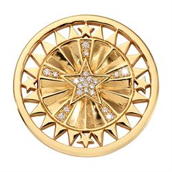 Yellow Gold Wanderlust Coin 33mm by Nikki Lissoni