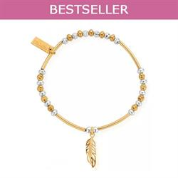 Yellow Gold and Silver Sparkle Feather Bracelet