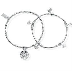 ChloBo Cherabella Purity Set of 2 Silver Bracelets