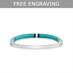 Love Bridge Turquoise Beaded Engravable Bracelet