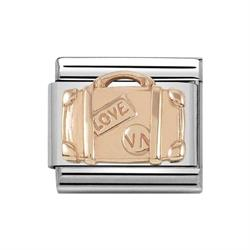 Classic Rose Gold Symbols Engraved Suitcase Charm