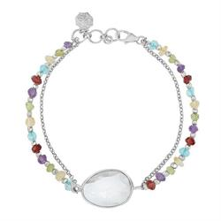 Sterling Silver Faceted Bead and Multi Stone Orissa Bracelet
