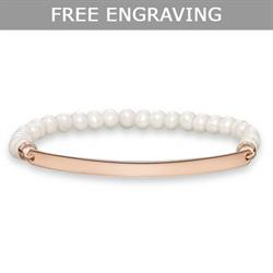 Thin Rose Gold Love Bridge Pearl Bracelet Large