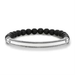 Thomas Sabo Love Bridge Black Obsidian Dot Bracelet 18.5cm